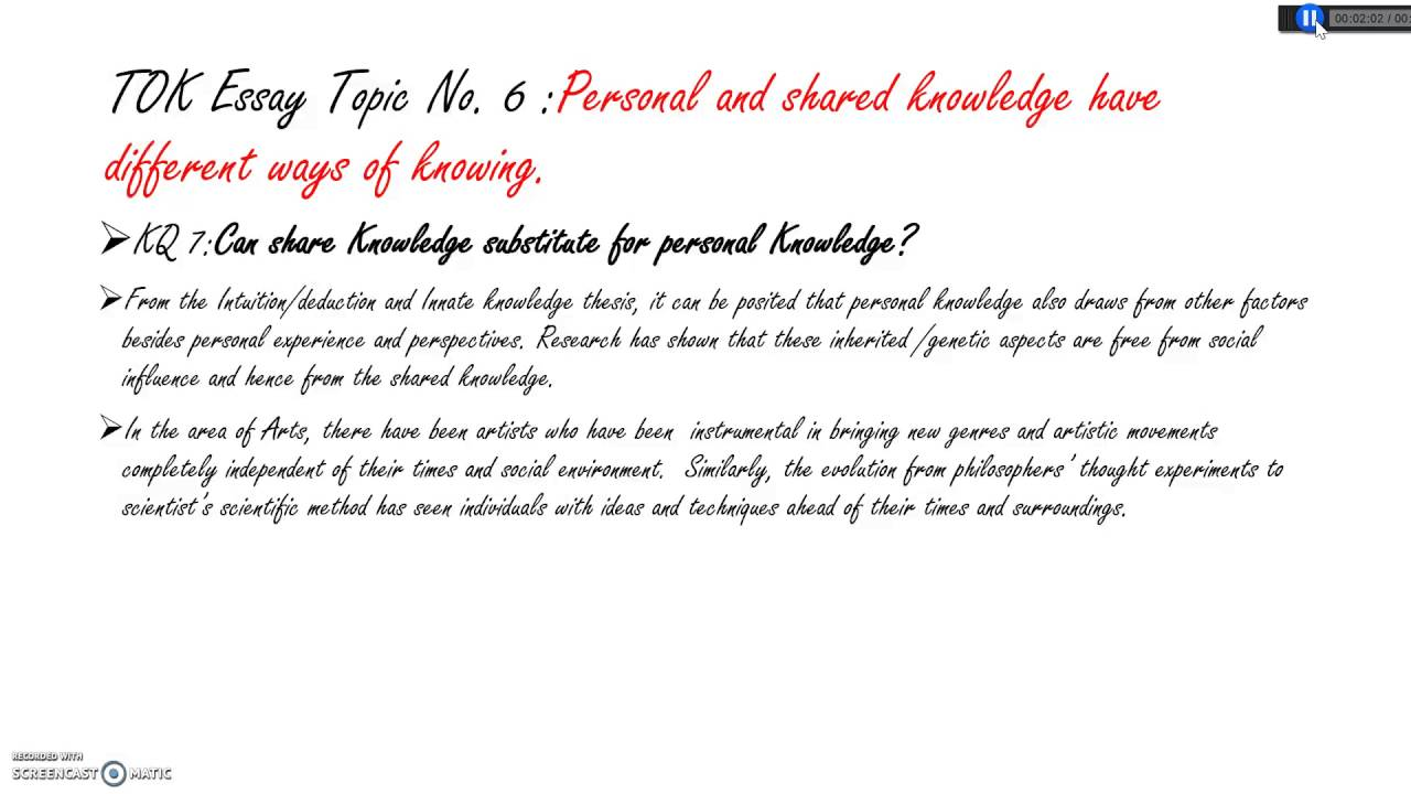 a good tok essay What exactly someone needs to include in a theory of knowledge (tok) essay  can depend on which country they are studying their international baccalaureate.