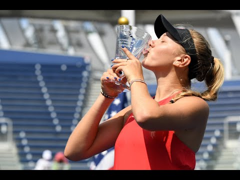 2017 US Open: Winners Walk with Girls' Singles Amanda Anisimova