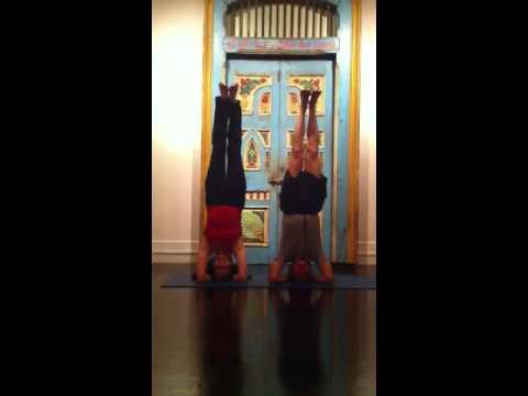 Dr. Loren Fishman And Cathy Lilly Synchronized Sirsasana