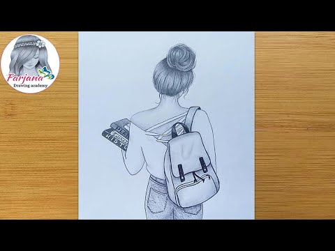 How to draw a girl with School Bag ||  Pencil sketch Tutorial || Art video