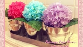 DIY - How to Make Hydrangea Paper Flower - Room, Gift Box, Frame, Ball Decoration