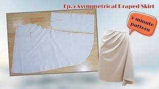 5-Minute Pattern | draṗing techniques for beginners | EP.05 Asymmetrical Draped Skirt