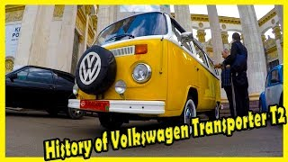 History of Volkswagen Transporter Series 2. Classic German Cars from the 70s. Autoshow