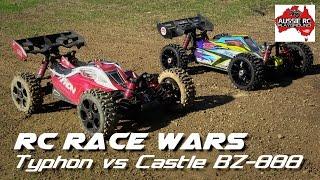rc race wars arrma typhon vs hobbyking bz 888 w castle 2400kv