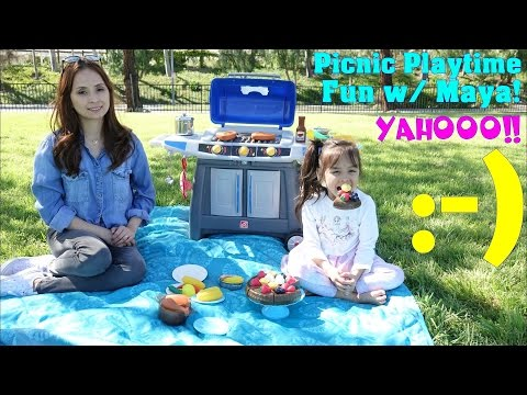 Kitchen Playset, Cooking Food Pretend Play. Barbecue Grill Set Assembling & Playtime. Picnic Day!