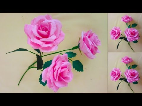 How To Make Tissue Paper Roses! | Paper Flowers Making Step by Step | Diy Paper Flower Craft
