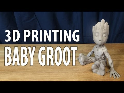 3D Printing Baby Groot from Guardians of the Galaxy 2 using Hatchbox Wood on Raise3D N2+ 3D Printer