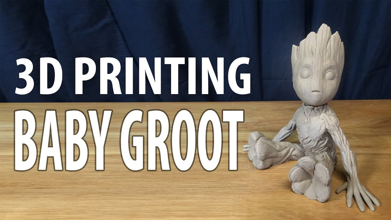 3d printing baby groot from guardians of the galaxy 2 using hatchbox wood on raise3d n2 3d printer