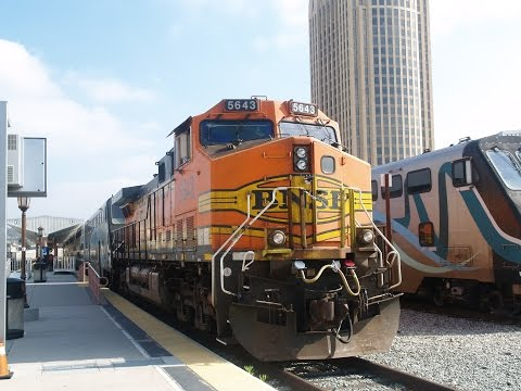 Trains at Los Angeles Union Passenger Terminal with BNSF AC4400CW's working on Metrolink 4/13/16