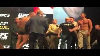 Conor McGregor vs Nate Diaz Staredown   Diaz Makes McGregor Flinch   UFC 196 Weigh in Face Off