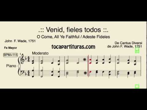 Adeste Fideles Partitura de Piano en Fa Venid Fieles Villancico O come all ye faithful sheet music