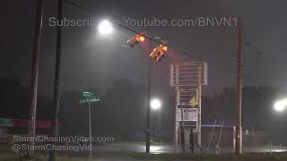 Huge Powerflashes over highway and cars with sparks over car. Shots...