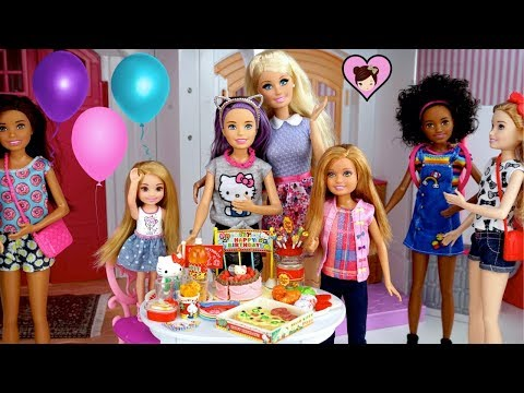 Barbie Doll  Surprise Birthday Party - Opening Presents & Supermarket Shopping