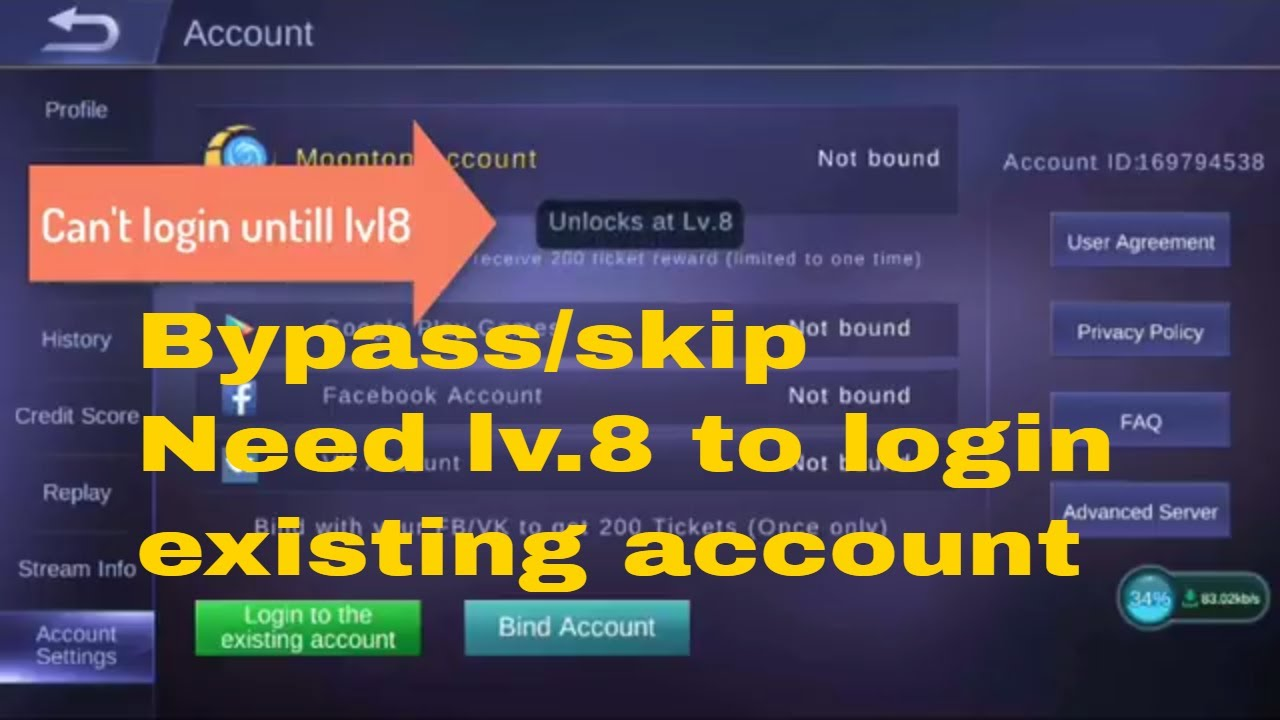 how to bypass/skip need level 8 to login existing account