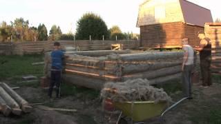 видео Баня из бревна с террасой своими руками, проект и этапы строительства