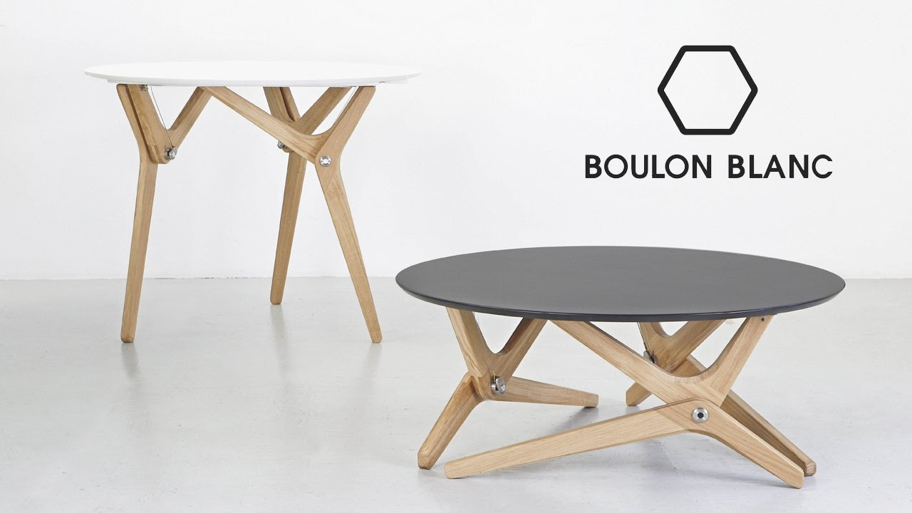 Table modulable basse haute par boulon blanc notre for Table haute 50x50