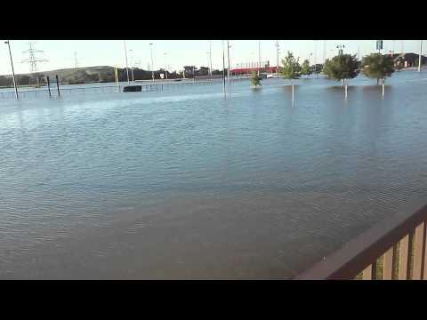 Railroad Park Lewisville Texas underwater