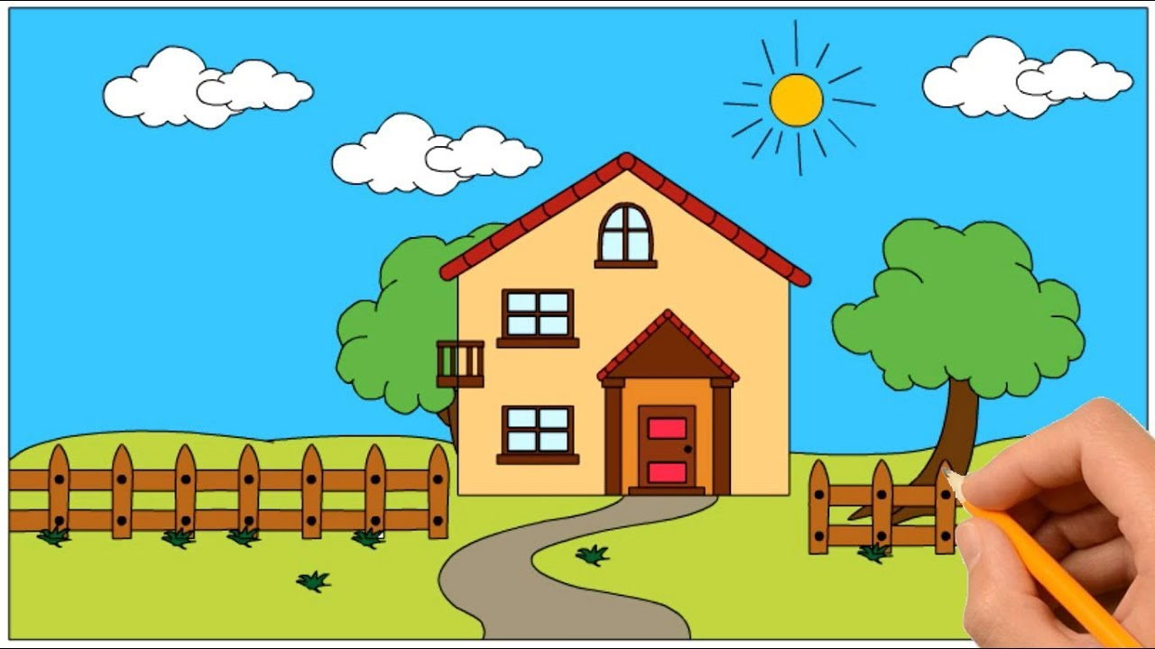 How to draw a house in a beautiful nature coloring book page and drawing learn colors for kids
