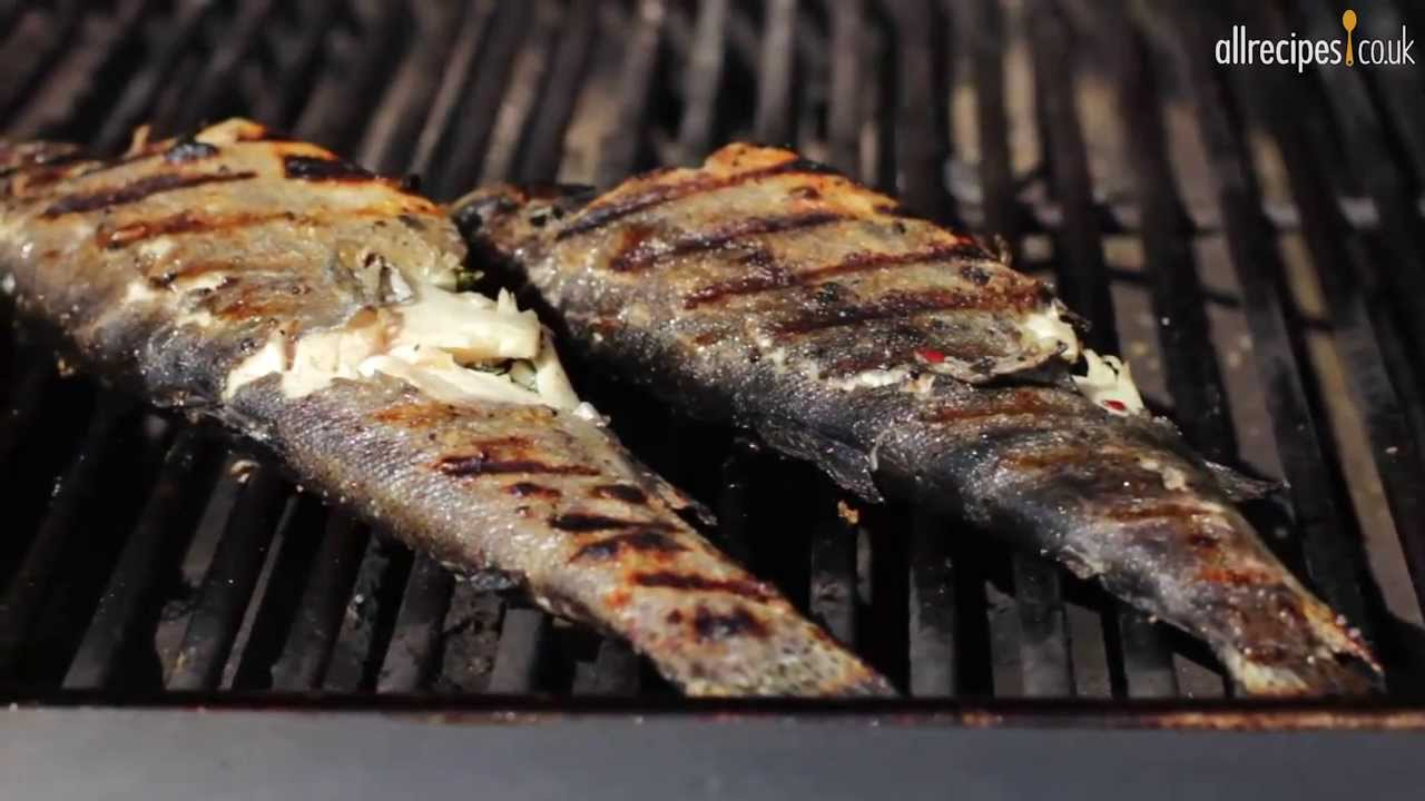 How to bbq fish video barbecued stuffed trout youtube for The fish grill