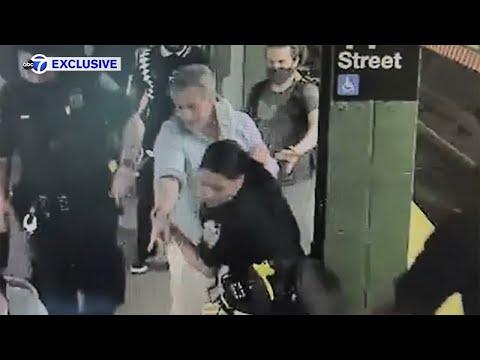 Exclusive: Man intervenes as woman slashed on subway platform