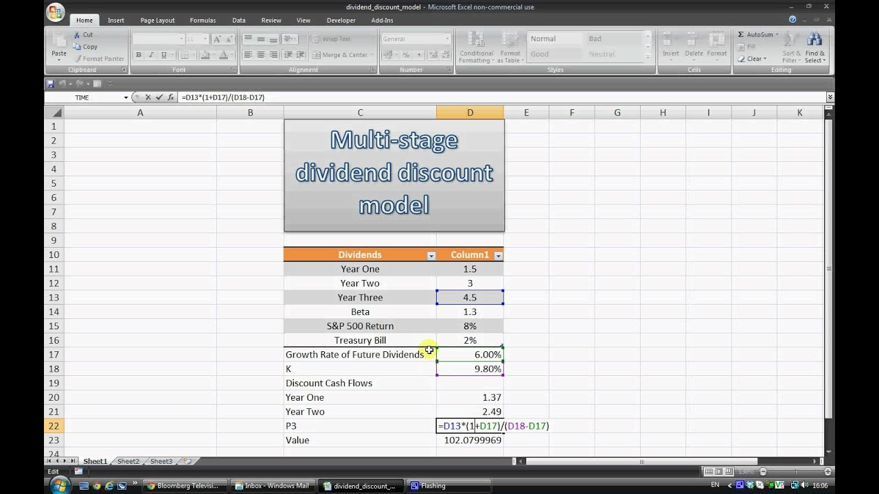 Vscap Multi Stage Dividend Discount Model In Excel Youtube
