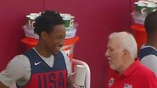 DeMar Derozan Meets Greg Popovich After Trade to Spurs! 2018 USA Basketball
