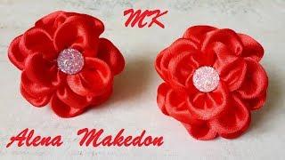 DIY Маленькие, Пышные, Красные Цветы из лент в стиле Канзаши.  МК Украшение на резинке.