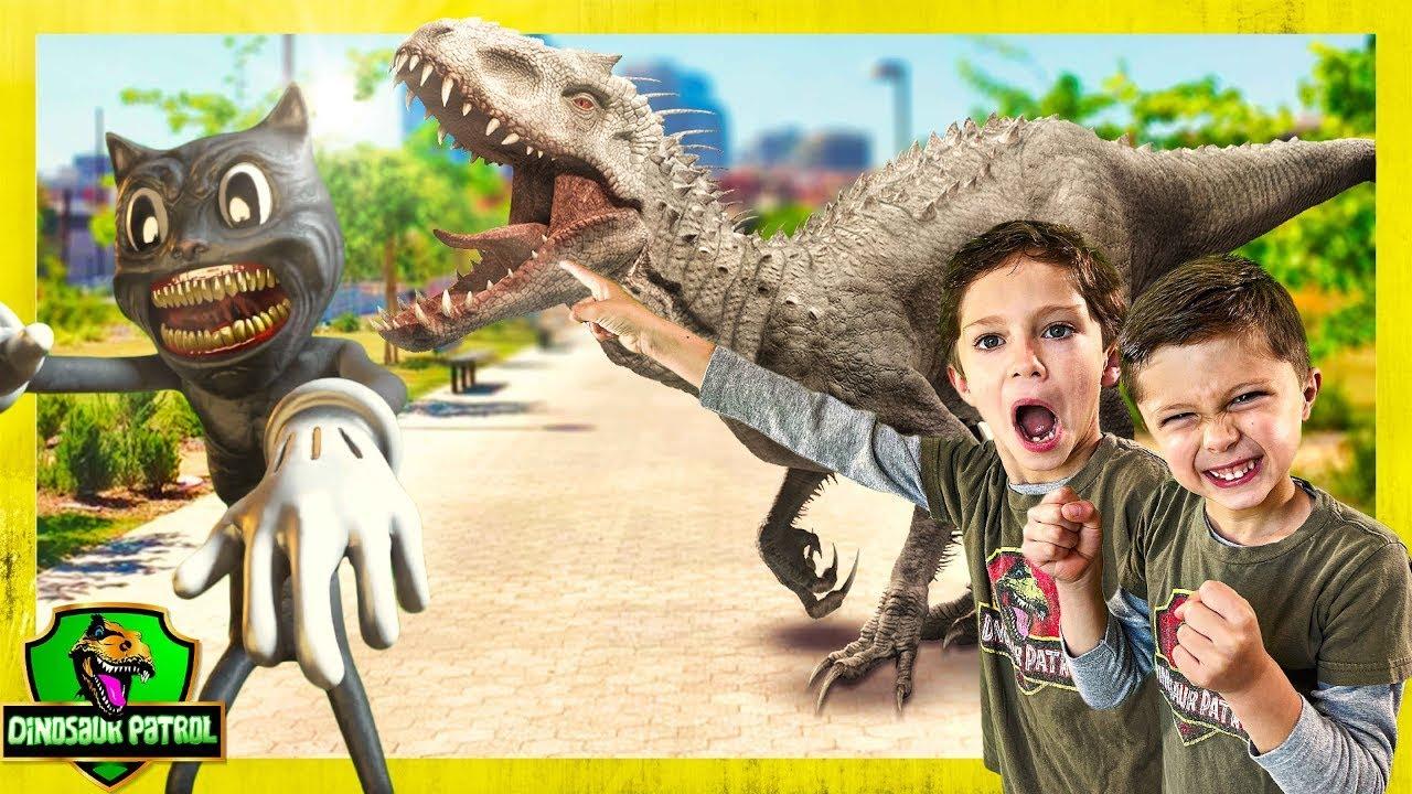 Dinosaur Patrol Showdown   50+ Minutes of Giant T-Rex Adventures w/ Cartoon Cat   Dinosaurs for Kids