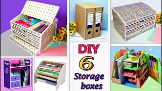 6 DIY SIMPLE ORGANIZERS AND BOXES FOR STORAGE from cardboard