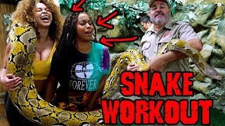 Girls Try Giant Snake Workout for the First Time and Survive
