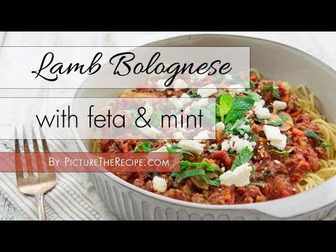 Spaghetti & Lamb Bolognese with feta and mint