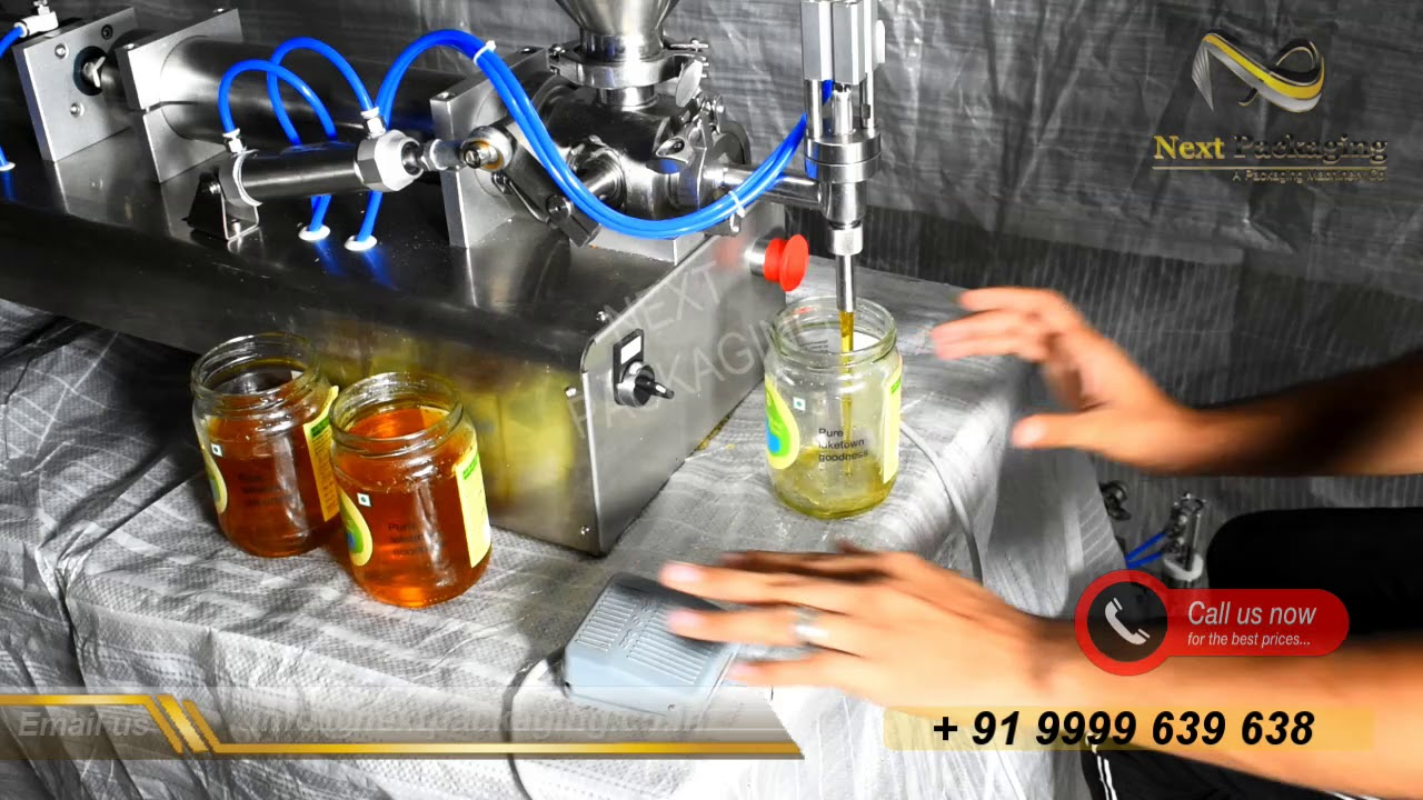 Semi Automatic Honey Filling Machine  | Block type piston Filling Machine | Range 10 ml  to 1000 ml