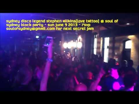 Disco legend STEPHEN ALLKINS (love tattoo) at Soul of Sydney Secret Disco Block Party - Sun June 9