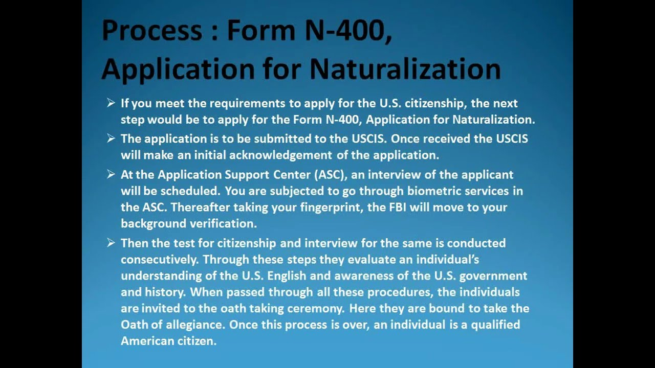 U.S. Citizenship Form N-400, Application for Naturalization - YouTube