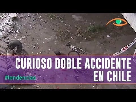 Curioso doble accidente en Santiago de Chile