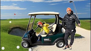 Timko Plays Golf with Papa and Ride on Golf Cart | Learn Sports for Kids