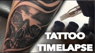 TATTOO TIMELAPSE | REAL TIME | BLACK AND GREY SKULL COVER UP | CHRISSY LEE