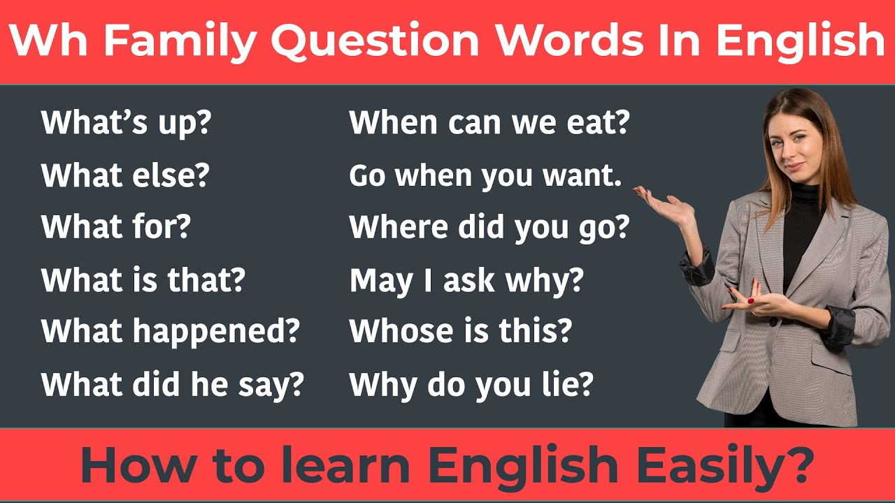 Learn Wh Question Words || Wh Family Question Words In Spoken English || Spoken English Practice