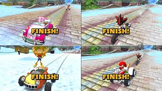 Sonic & Sega all Star Racing 4 player split screen Madness