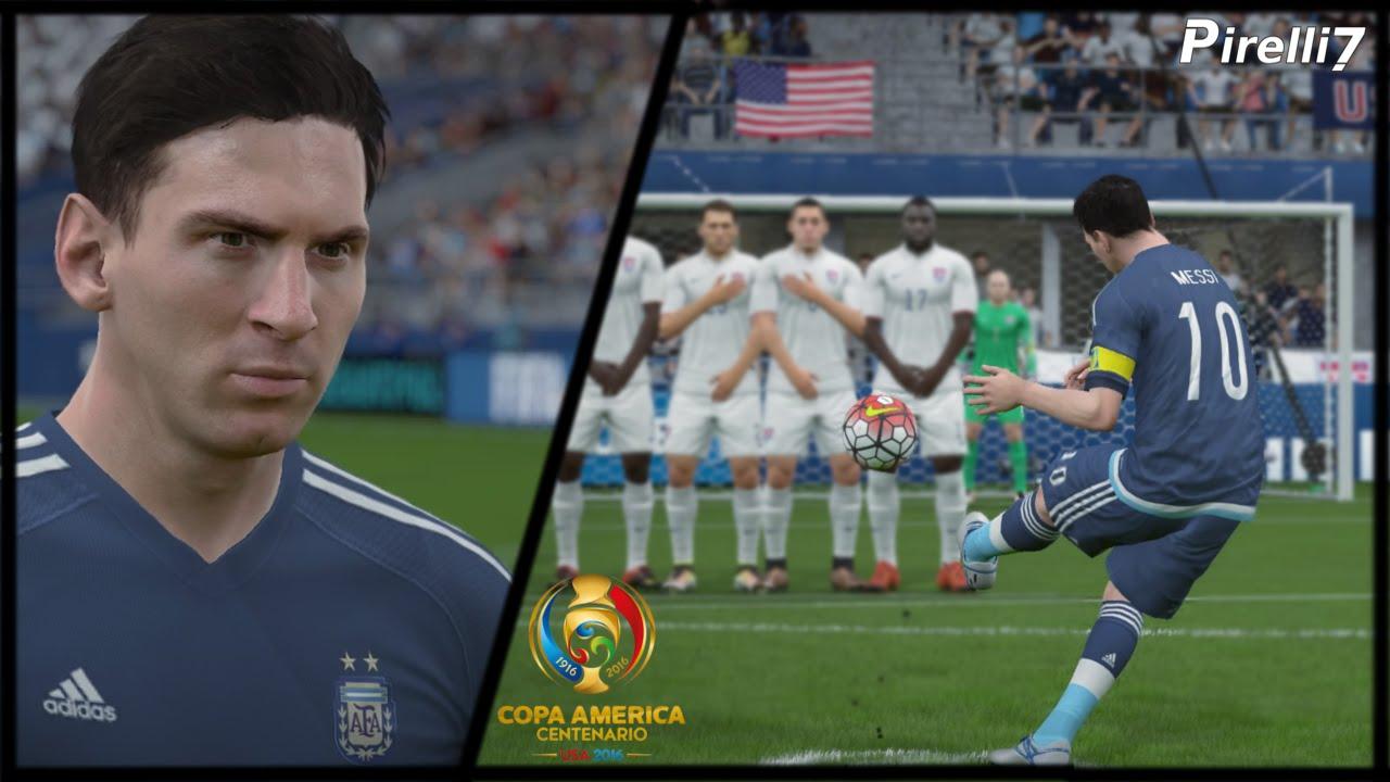 Fifa  Remake Lionel Messi Terrific Free Kick Vs Usa Copa America  By Pirelli Youtube
