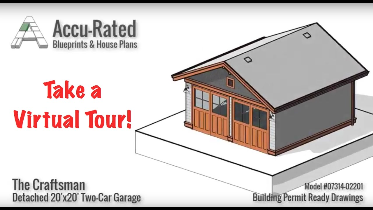Accu rated blueprints house plans craftsman two car for Virtual tour house plans
