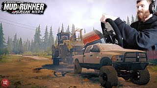SpinTires MudRunner REAL ST C Trailer Towing With Wheel Cummins Hauling New Holland Loader