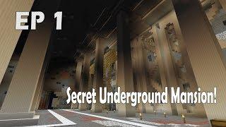 Secret HUGE Underground Mansion! | Intro. and base Tour | BuildAtNight Ep. 1| Minecraft Survival