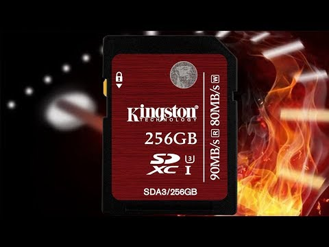 Kingston Digital 256GB SDXC UHS I Speed Class 3 90MBs Read 80MBs  Card Unboxing and Speed Test!