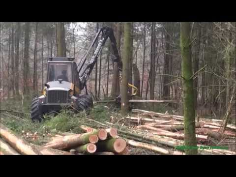 Wood harvester with A Sampo Rosenlew 1046 X - Forestry in Holland