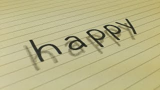 Very Easy!! How To Draw 3D Floating Word HAPPY for Kids|3D Trick Art on Line Paper