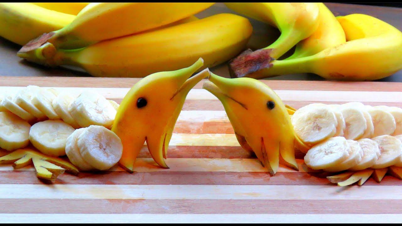 Step by step how it s made banana dolphin banana art fruit carving banana decoration youtube