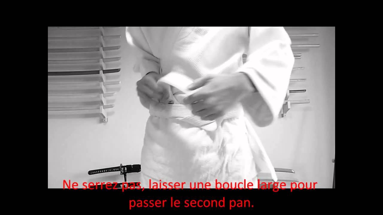 Comment nouer sa ceinture   - Aikido, Judo, Karate - Technique sans  croisement noeud plat 68aa6a5c363