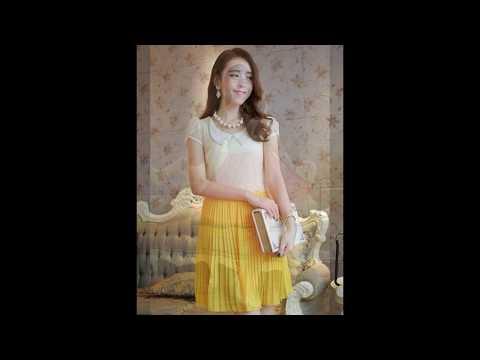 แฟชั่นชุดเดรสสวยๆ : ชุดเดรสไปงานแต่งสวยๆ ชุดเดรสสั้นน่ารัก สีเหลือง ผ้าลูกไม้