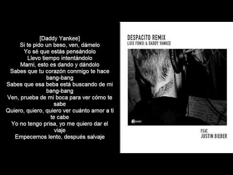Despacio (Remix) Justin Bieber Ft. Luis Fonsi y Daddy Yankee - Official Lyrics